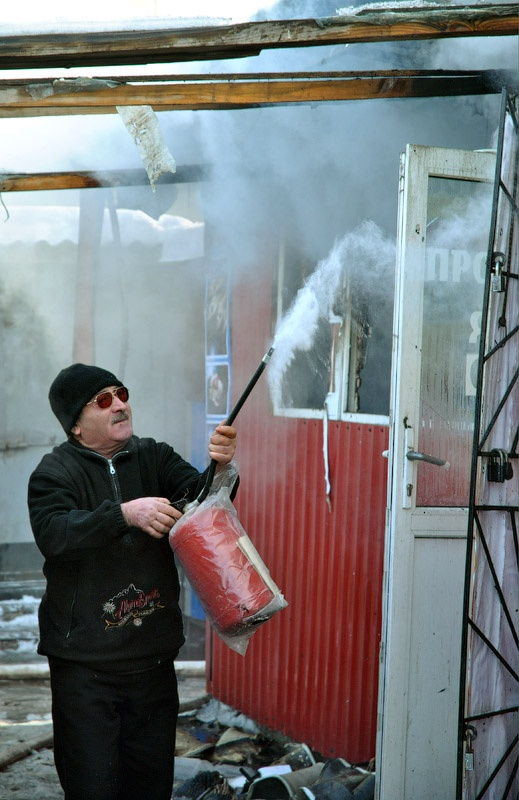 Пожар на привокзальном рынке города Красноармейска