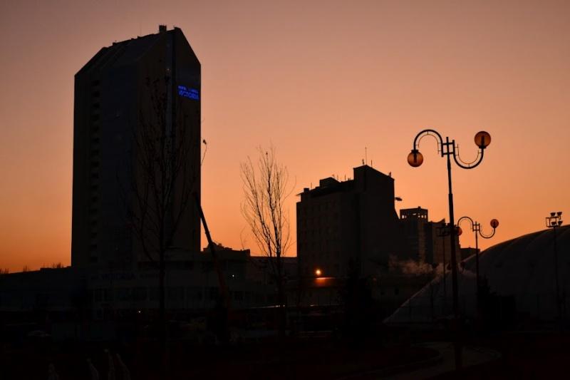 Морозный закат в Донецке