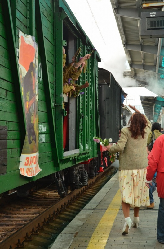 военная реконструкция поезд Победы Донецк